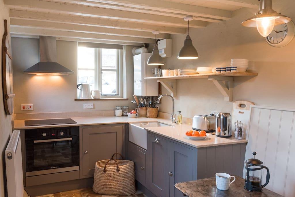 Cottage Kitchen, oven, hob, fridge, dishwasher