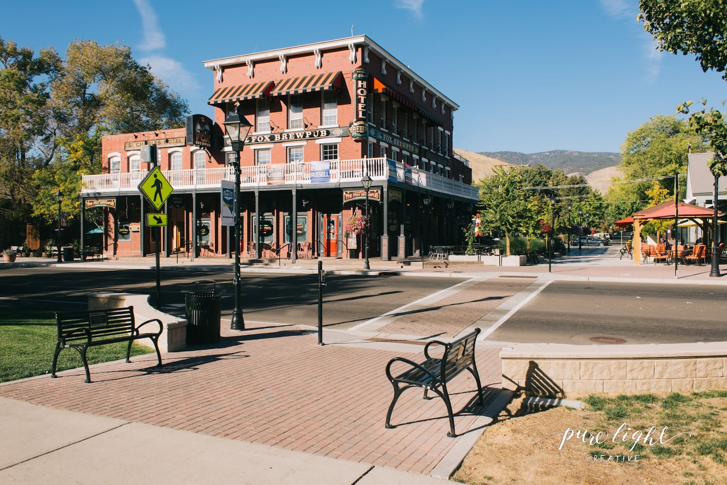 St Charles Hotel built in 1862, downtown Carson City across from State Capitol.  Rooms are located on 2nd floor, access to balcony and large back deck.  Room 205 is located on the SE corner (the left side of photo, 2nd floor.