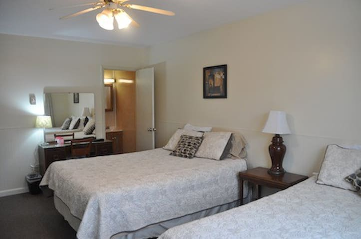 Standard Room - 2 queen beds, private bath, private entrance, direct Rails-to-Trails hiking/biking trail access, on-site restaurant, full country breakfast included.