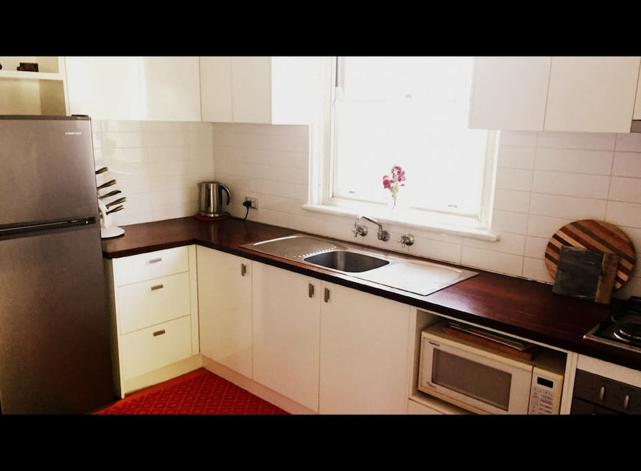 Kitchen with fridge, microwave, oven, gas stove and doggy door.