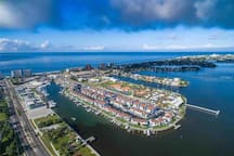Flyover pic of the Madeira Beach Yacht Club property.  We're surrounded by the Boca Ciega Bay and the Gulf of Mexico across the street.