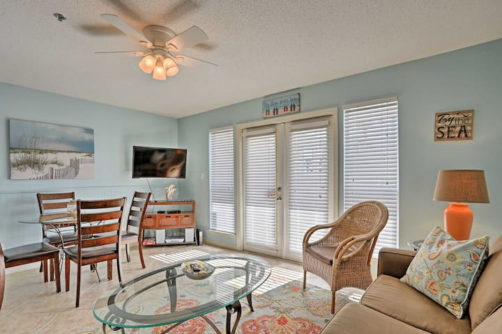 The condo is located on the first floor with a private porch.