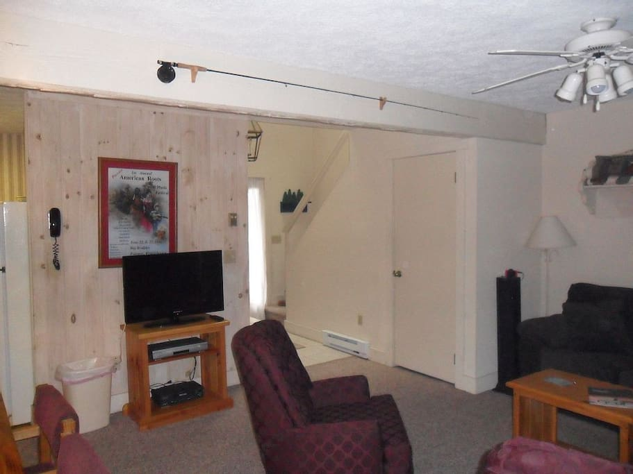 TV with DVD player in living room