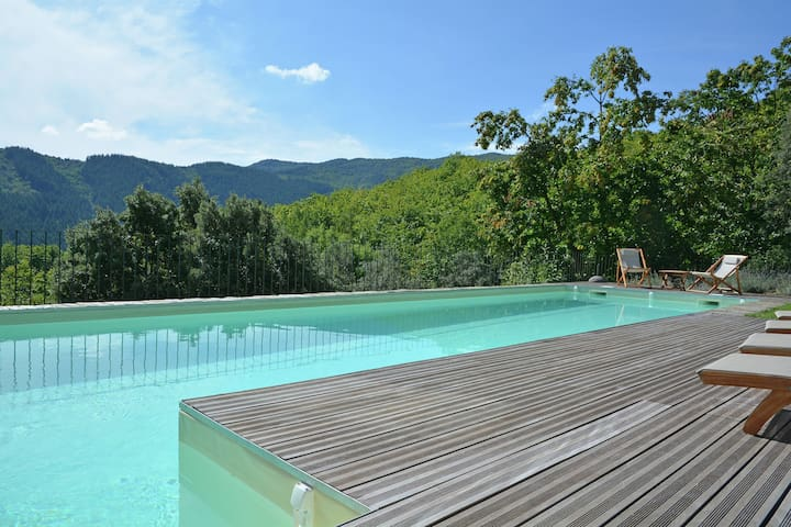 Luxury Mas entirely built of local stone and chestnut with exceptional views and private pool