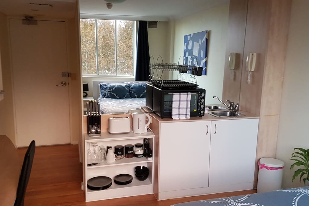 Kitchenette with all basic requirements for cooking