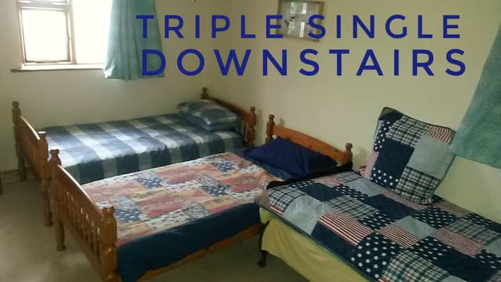 Triple room downstairs (wheelchair friendly)
