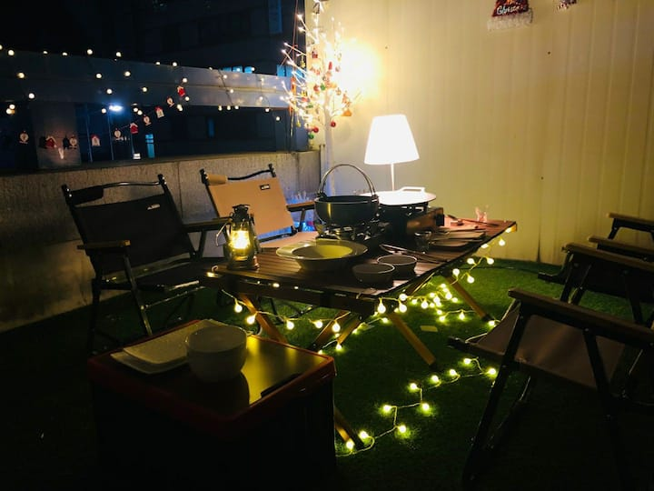 ☆BBQ party  in terrace. 3 mins from Gangnam Stn.