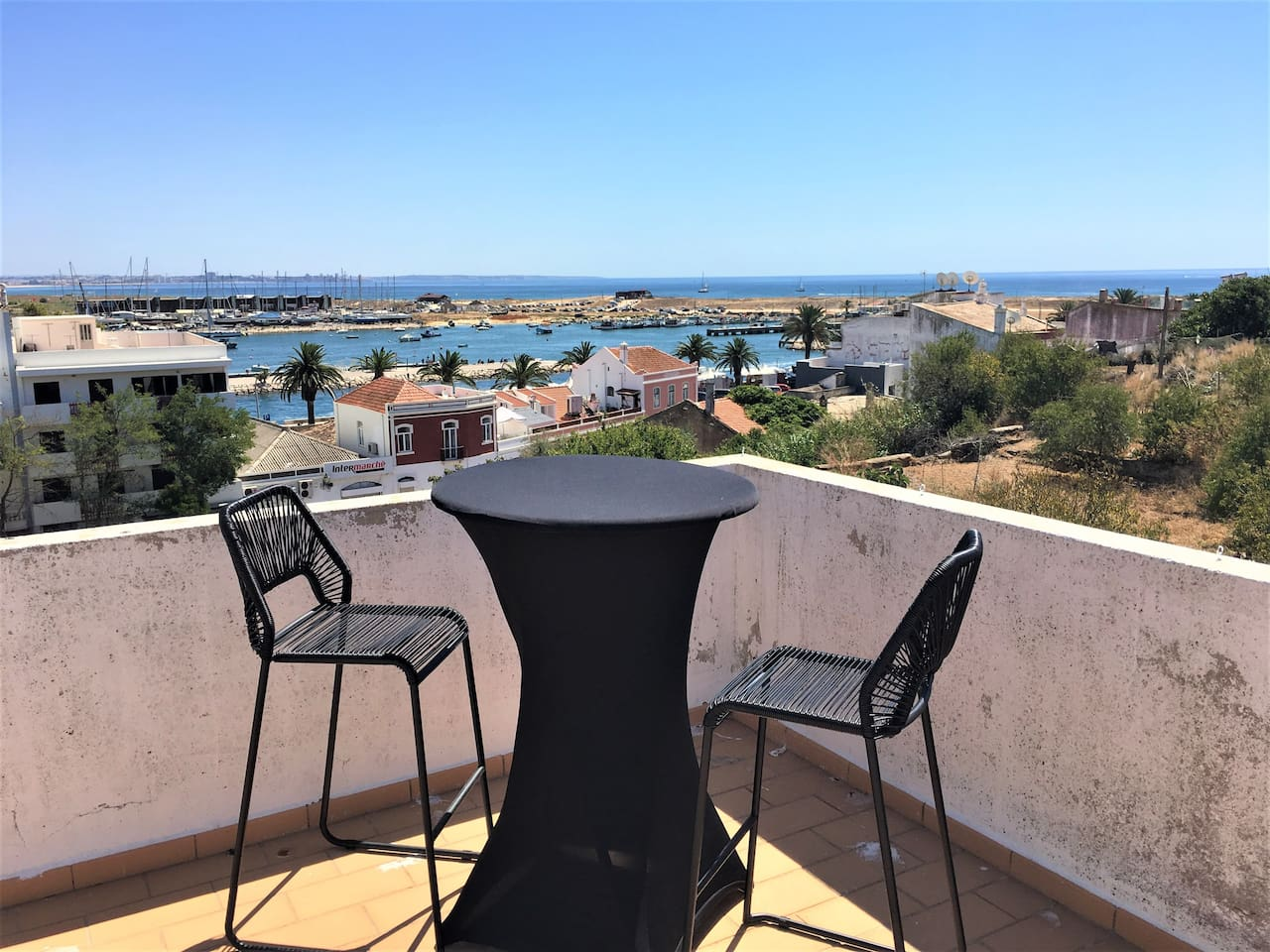 View of the Marina and Meia Praia Beach from your private rooftop terrace