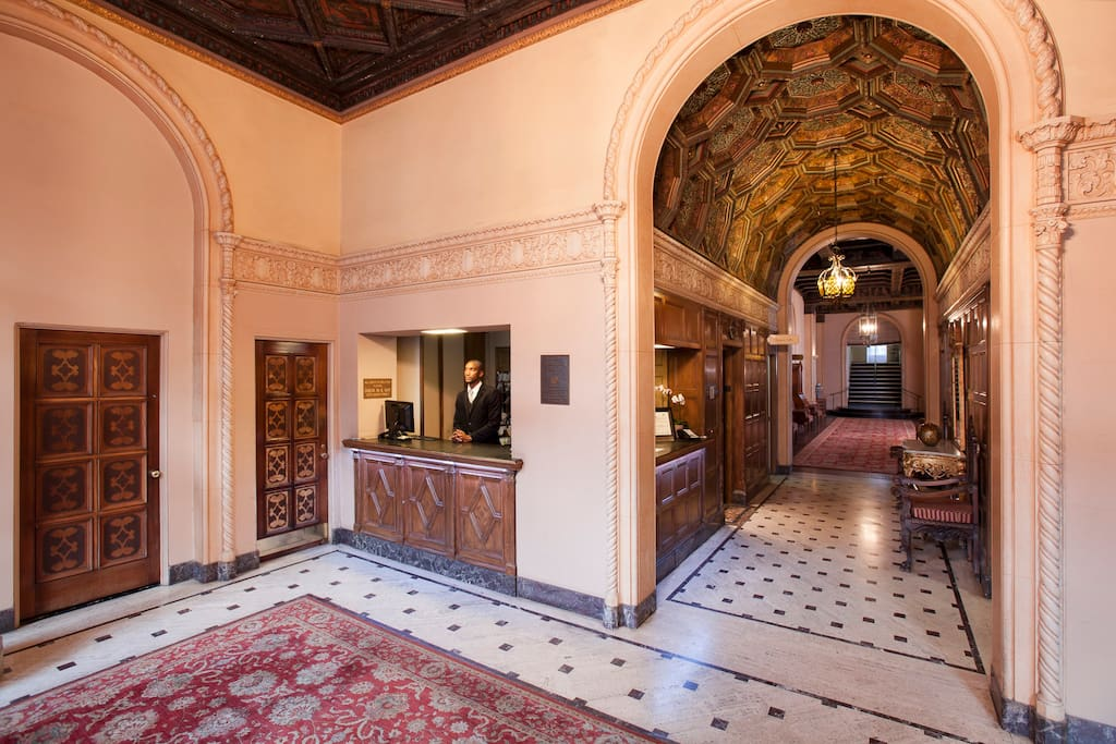 Enjoy the beautiful, hand-painted ceilings and other historic architectural details.