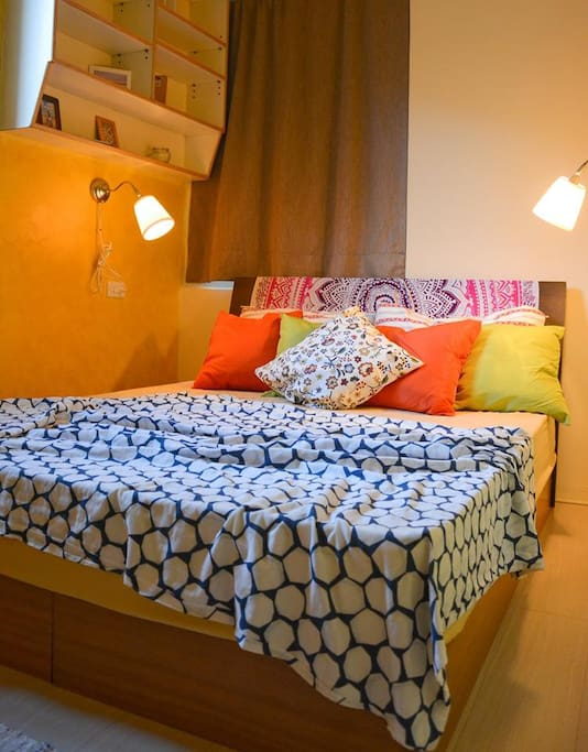 Bedroom with AC and reading lights