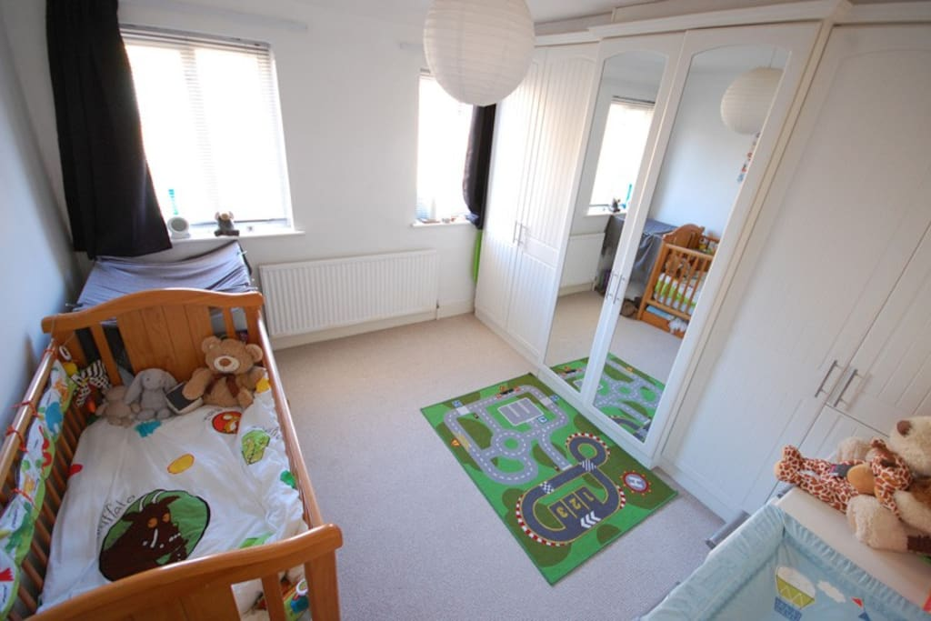 Double room with toddler/cot bed. There is plenty of room for a single bed in here if you would prefer