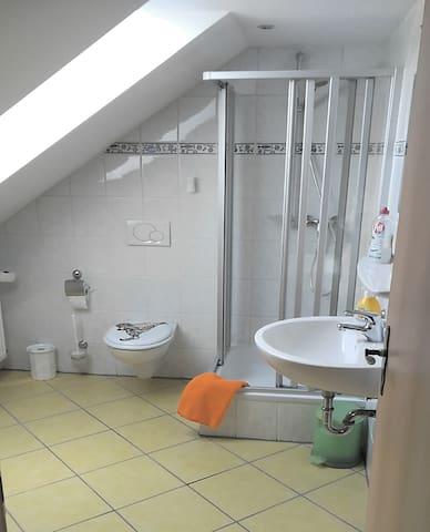 Geräumiges Bad mit Dusche & Fön