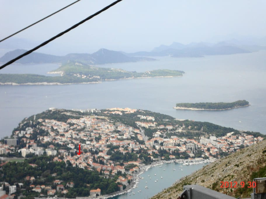 This is the panoramic view of Dubrovnik-Lapad where the apartement is situated ( red spot).