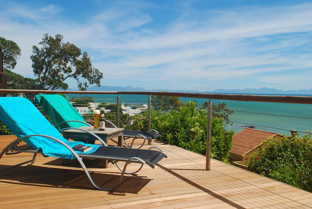 Wooden Sun Deck On 80m² Terrace With View To Yacht Harbour Left  And Sunset Beach Right