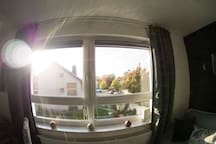 Lichtdurchfluteter Raum dank großer Fenster