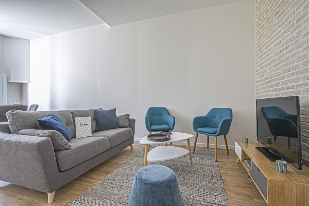 Modern living room with comfortable sofa bed for 2