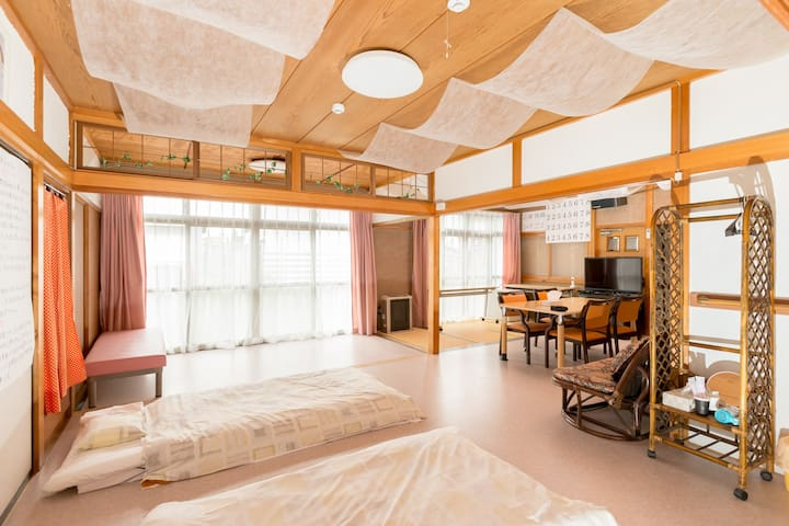 バリアーフリーで宿泊出来るゲストハウス.駐車場付き.Guest house fukuroi