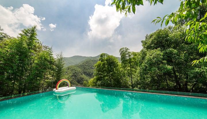 近双溪漂流,无边山景泳池/榻榻米大床房,精美早餐,向往的生活(德音)