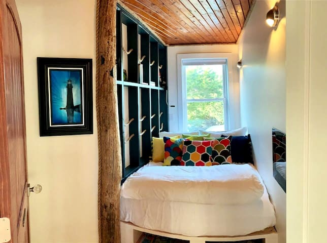 The Pirates Quarters feature cozy comfort and fun! This room features a full sized bed. Perfect for 2 children or a couple who likes to get cozy!