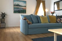 Bright and spacious living/dining area with double sofa bed