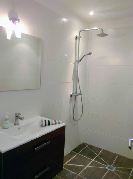 Belle salle de bain attenante avec douche à l'italienne, lavabo et radiateur sèche-serviettes.