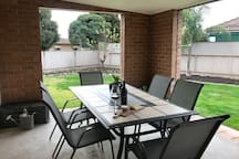 Outdoor dining table.