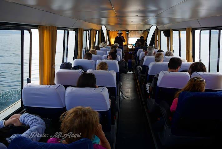 Puedes venir a nuestra casa en barco, en Carro y en mini van colectivo