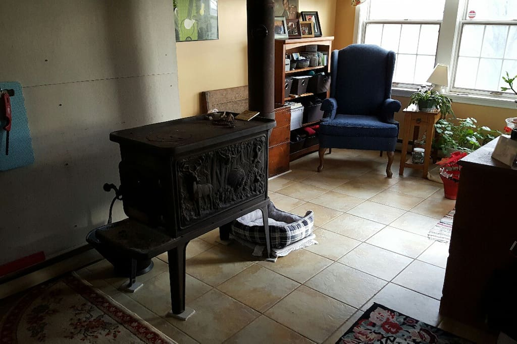 Woodstove and reading area
