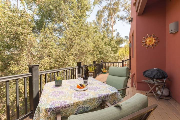 Enjoy a glass of wine and bbq on gas grill on your private Casa de los Sueños casita deck.