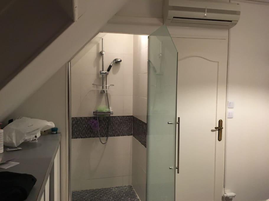 Douche privée à l'intérieur de la chambre