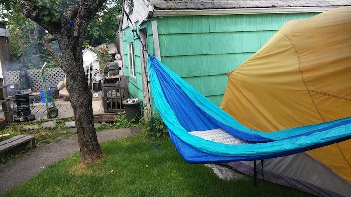 420 friendly hammock in backyard
