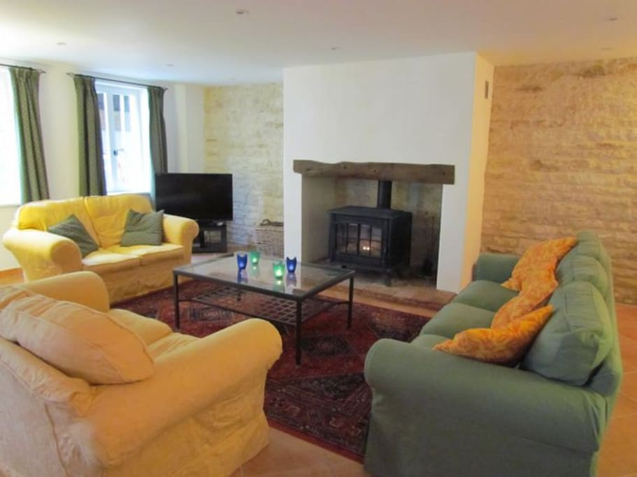 Large Sitting Room with wood burner