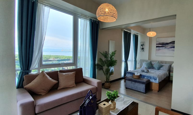sea view from the living room, balcony and bedroom