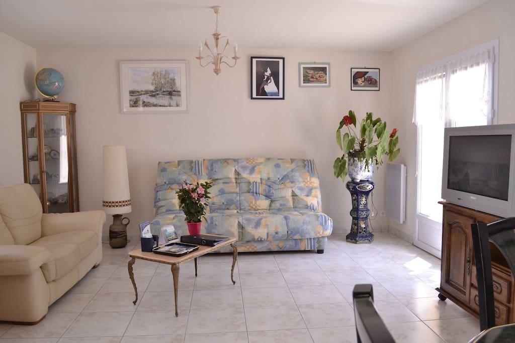 Salon clair et spacieux