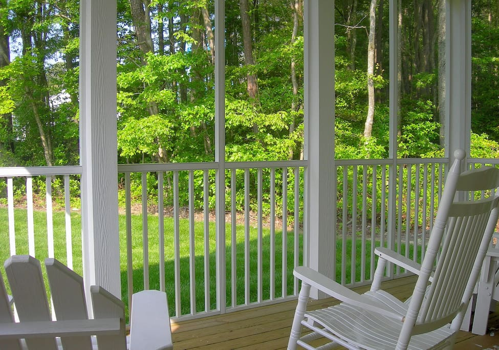 Your Huge screened in porch w park-like view. Keeps bugs away.