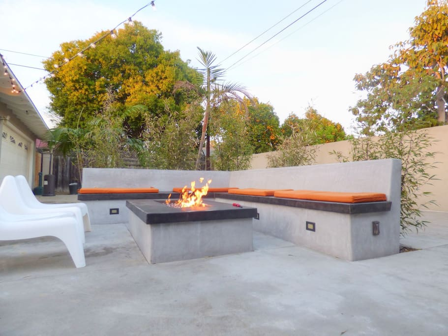 The large firepit is one of the most popular features of the house.