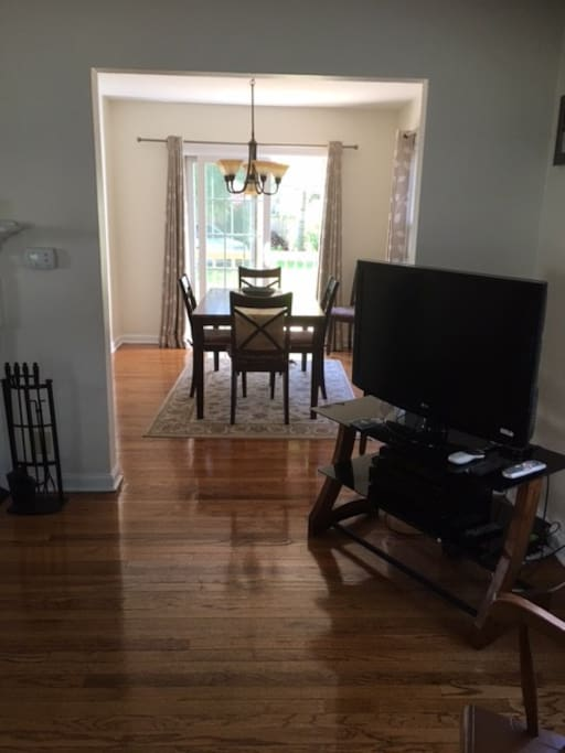 Looking into eating area