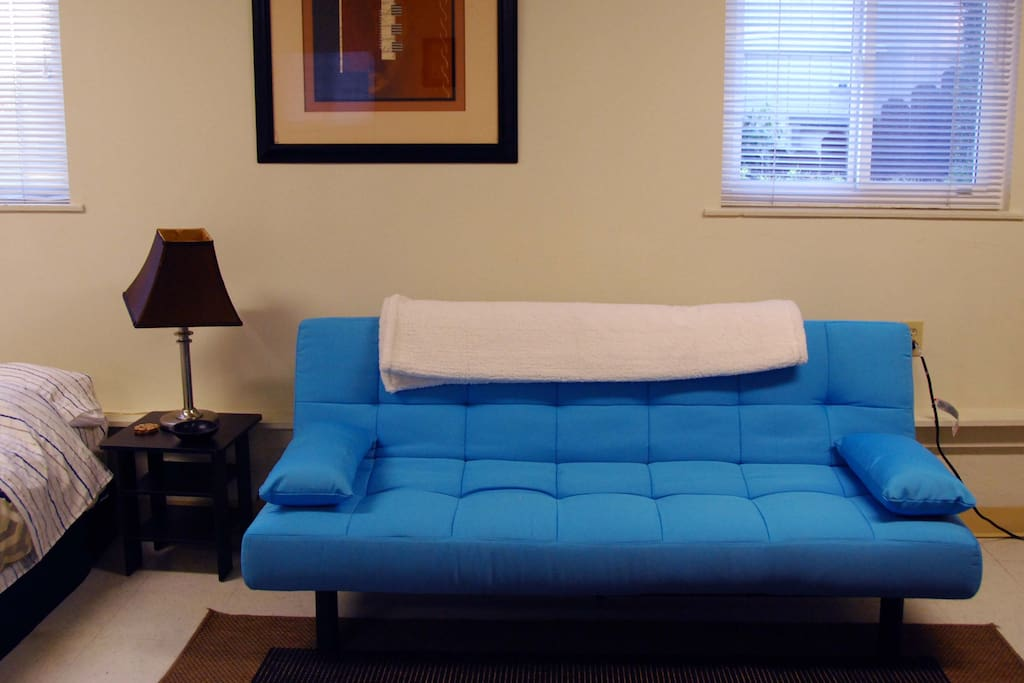 Oh my! What a beautiful blue sofa bed :)