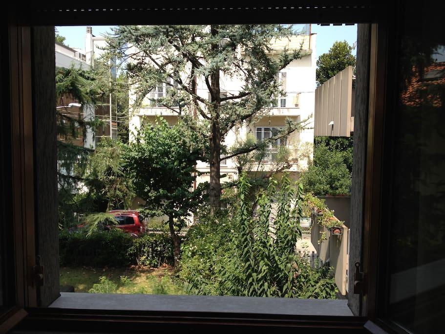 Vista sul giardino condominiale