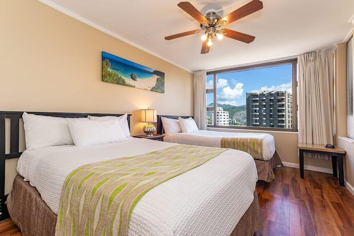 **Professionally Sanitized**Paradise Getaway w/Mountain Views+Full Kitchen! - Waikiki Banyan Mountain 1 BDR on the 12th Floor