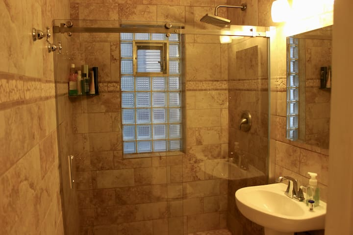 Remodeled custom bathroom with walk-in shower and rain-shower head.