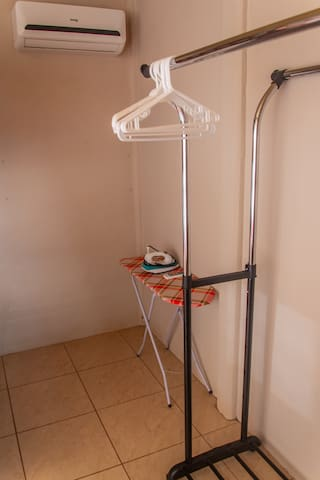 clothes iron and clothes rack