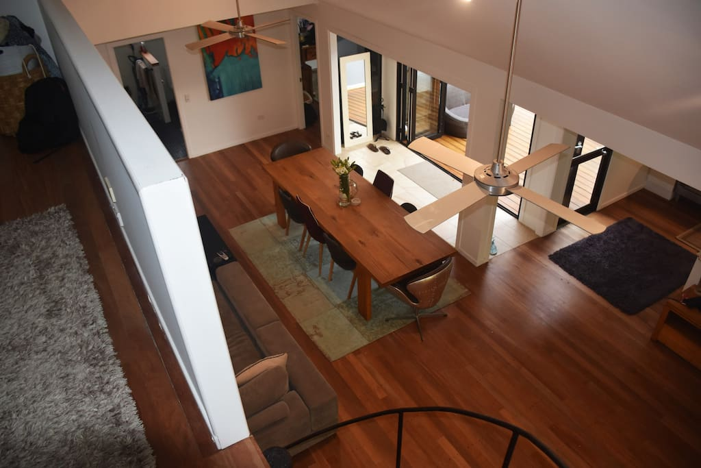 View from above, the bedroom is enclosed and very private now large slightly ding door entry..