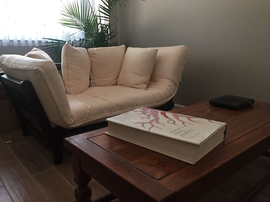 Comfortable and cute sofa, turns into a futon