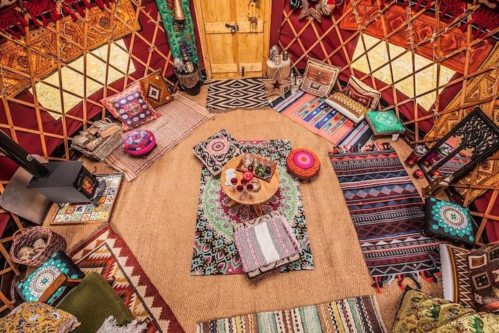 Warm, cosy yurt, sleeps six, self-catering.