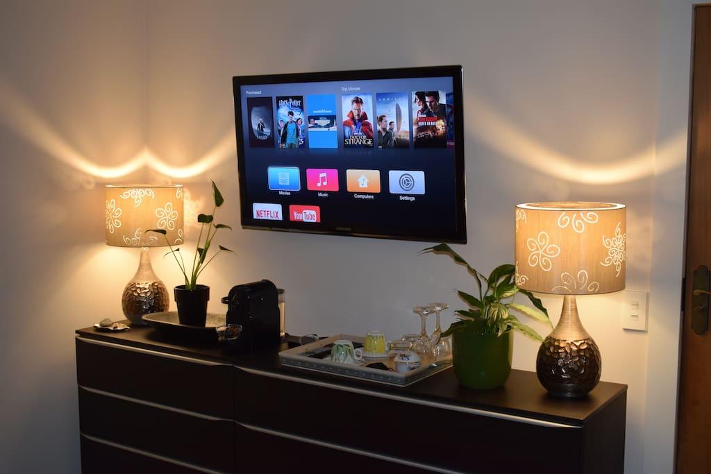 Apple TV, Netflix & Nespresso Coffee making facilities.