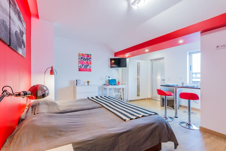 Lovely red studio with balcony 4C