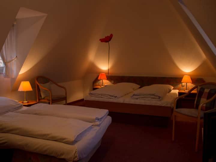 Hotel Bär, (Sinsheim), Vierbettzimmer mit Dusche und WC