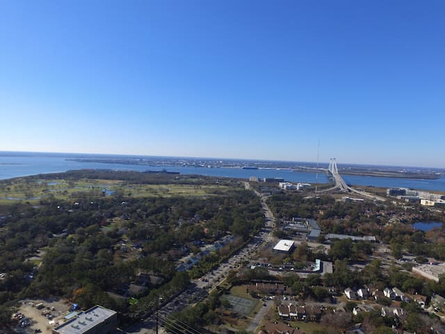 Drone View of Ravenel Bridge and Charleston from House Location