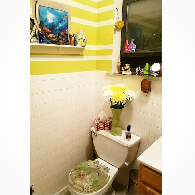 The bathroom is small but very kitschy cute!
